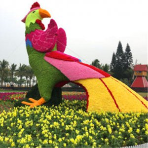 Colorful Fake Giant Parrot Artificial Grass Bear Bespoke Topiary Plant Sculptures