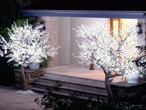 High Simulation Replicas White Cherry Blossom Tree With Little Green Tender Leaves And Built-In LED L