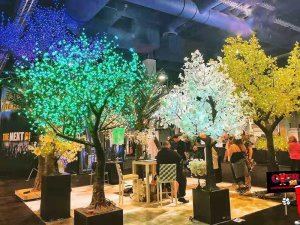 Artificial White LED Light Up Maple Trees | LED Maple Trees In Public Plaza Or Garden