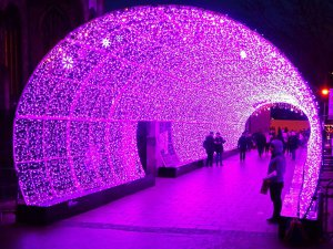 Xmas Light Tunnel In Pink With RGB Led Light Strips From China