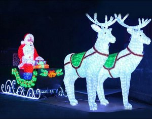 Christmas Light Decorations: Santa Ride With Gift Box